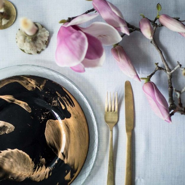 Blue & Gold Designer Dinner Plates, Vossi Handcrafted Designer Dinnerware with Cake - Anna Vasily
