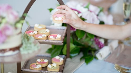 Modern 2 tier high tea stands for afternoon tea parties with the dessert stand Wate by Anna Vasily.