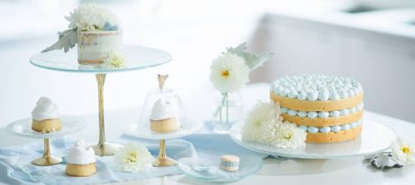 Baking Day Cake Stand Lovely presentation of bakes and cupcakes in a white kitchen in light blue