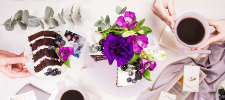 Coffee Cake desserts presentation Dicra is gorgeous, flushed in soft shell pink and adorned with our royal Venetian Filigree design. Dicra has a beautiful cake on top with fresh pink and purple flowers