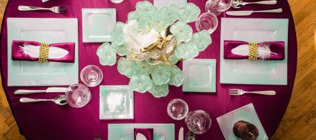 festive table setting square plate